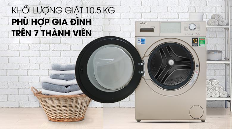Máy giặt màu vàng kim sang trọng, đẳng cấp - Máy giặt Aqua Inverter 10.5 kg AQD-D1050E N