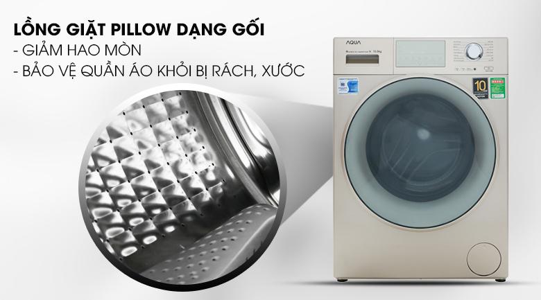 Lồng giặt Pillow dạng gối - Máy giặt Aqua Inverter 10.5 kg AQD-D1050E N