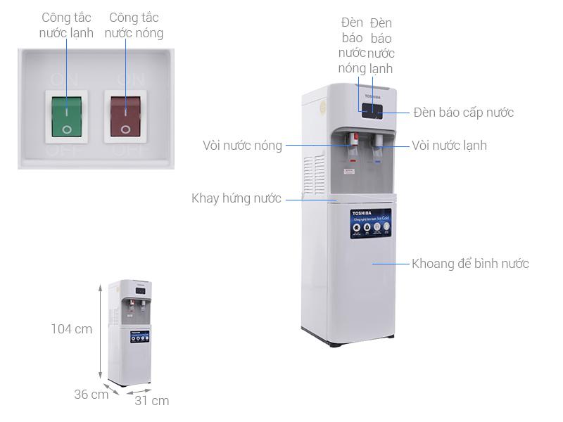 Thông số kỹ thuật Cây nước nóng lạnh Toshiba RWF-W1669BV(W)