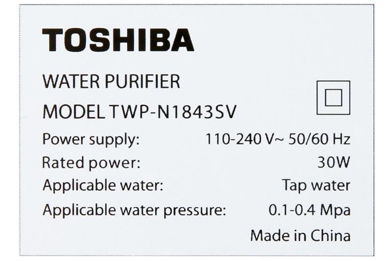 Công suất lọc 7.8 lít/giờ, dung tích bình chứa nước 8 lít, công suất 30 W - Máy lọc nước RO Toshiba TWP-N1843SV 3 lõi