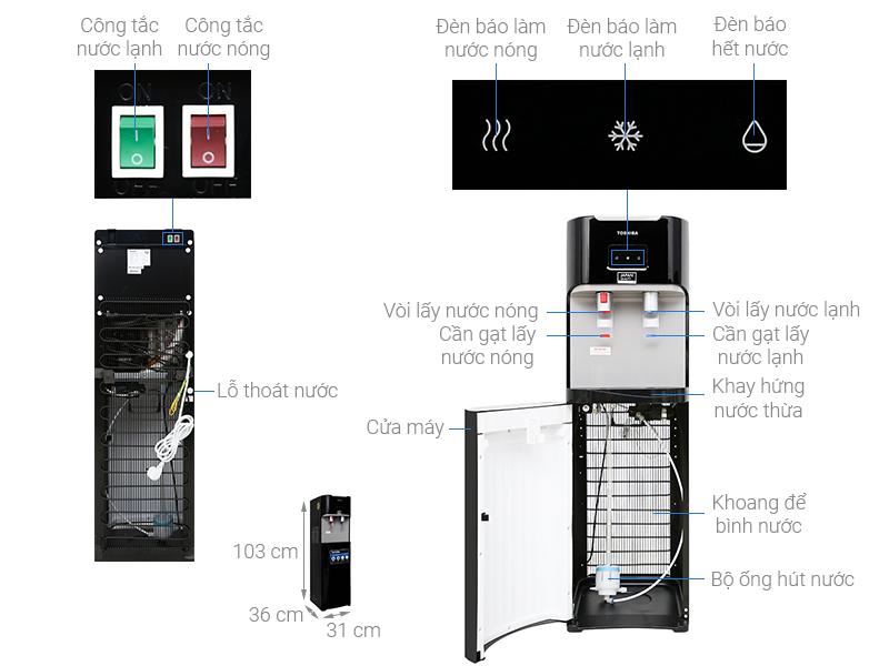 Thông số kỹ thuật Cây nước nóng lạnh Toshiba RWF-W1669BV(K1)