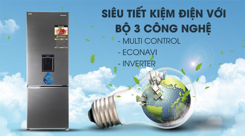Tủ lạnh Panasonic Inverter 290 lít NR-BV320WSVN-Siêu tiết kiệm điện với bộ 3 công nghệ: Multi Control, Econavi và Inverter