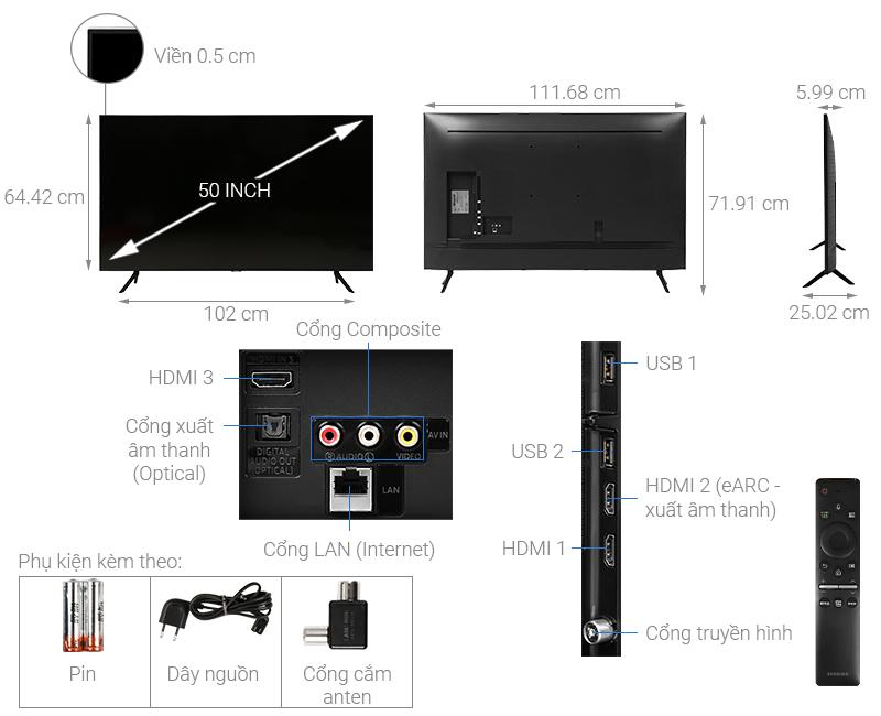 Thông số kỹ thuật Smart Tivi Samsung 4K 50 inch UA50TU8100