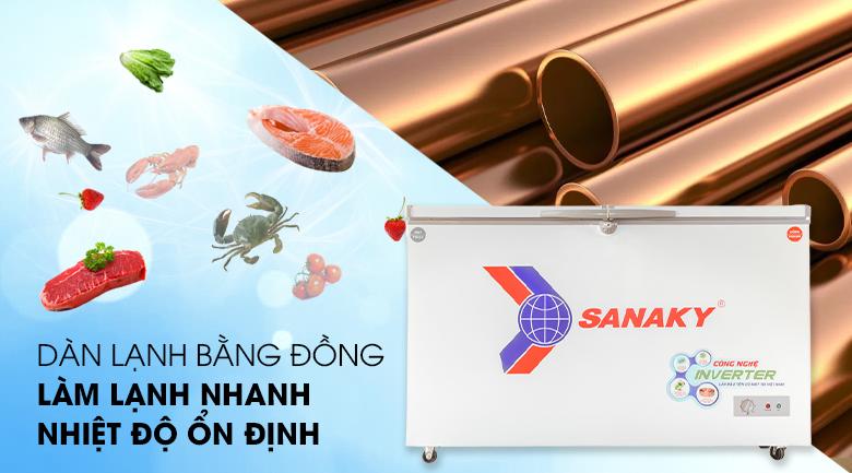 Dàn lạnh bằng đồng nguyên chất - Tủ đông Sanaky 280 lít VH-4099W3