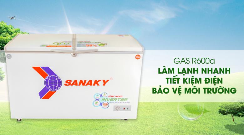Sử dụng Gas R600a tiết kiệm điện năng - Tủ đông Sanaky 280 lít VH-4099W3