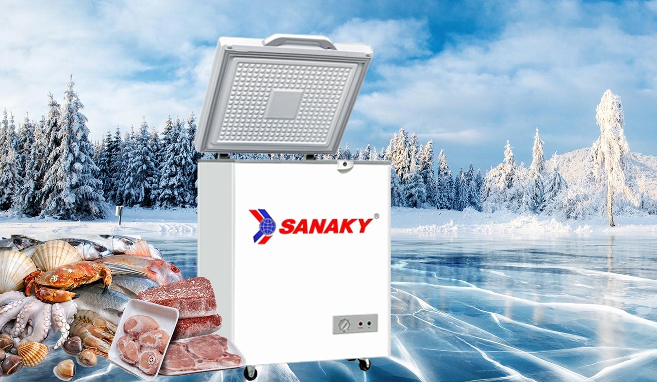 Tủ đông Sanaky 100 lít VH-1599HYKD làm lạnh nhanh và tiết kiệm điện