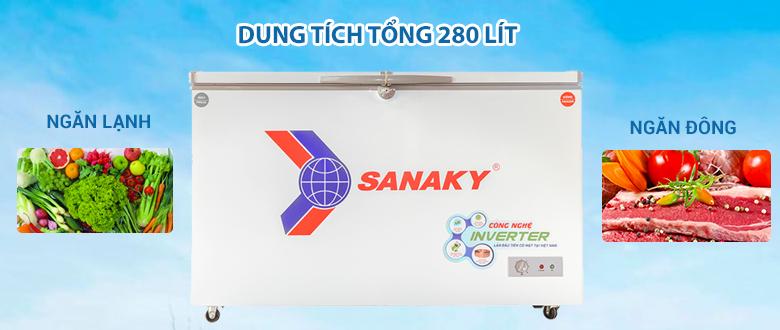 dung tích - Tủ đông Sanaky 280 lít VH-4099W3