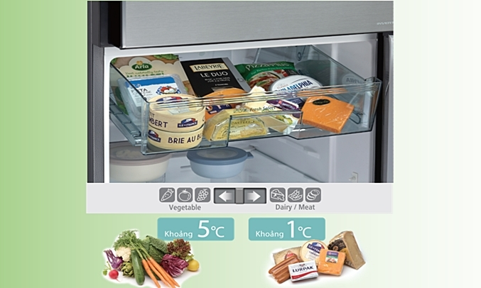 Tủ lạnh Hitachi Inverter 260 lít R-H310PGV7 (BBK) lưu trữ tiện ích