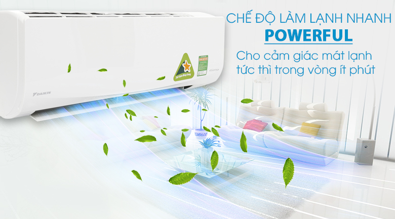 Làm lạnh nhanh - Máy lạnh Daikin Inverter 1.5 HP FTKQ35SAVMV